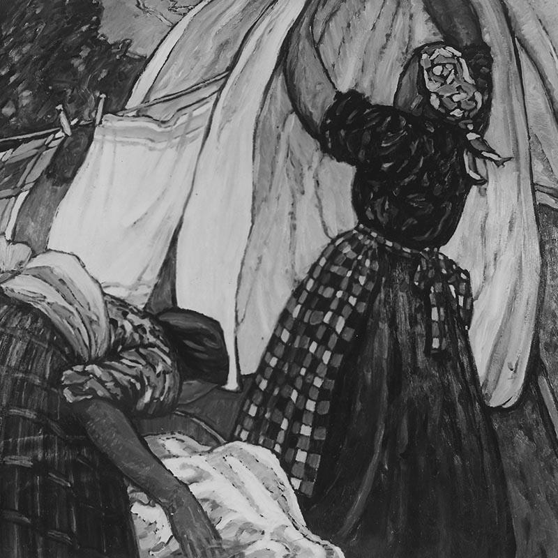 Gemälde, zeigt zwei Wäscherinnen